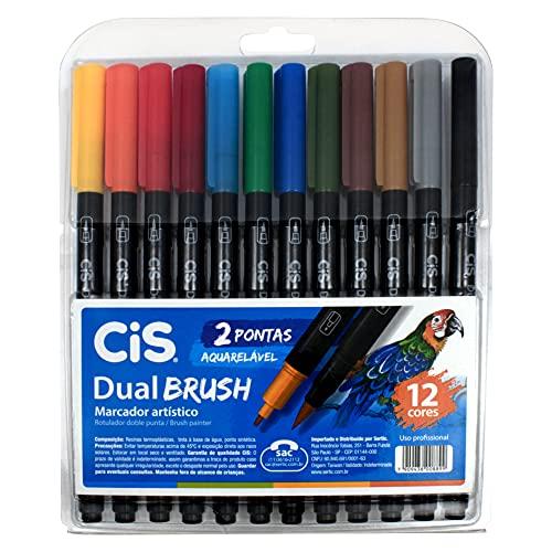 Marcador Artístico Aquarelável 2 Pontas, CiS, Dual Brush, 56.7200, 12 Cores