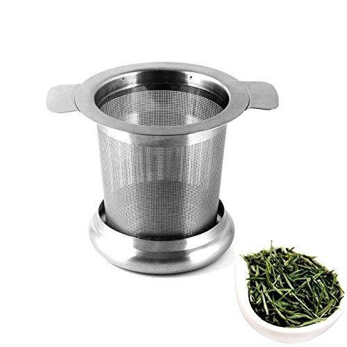 Wady - Tetera de acero inoxidable con filtro para tetera, 6,5 x 8 cm, agujero final con grifo y tapa para taza