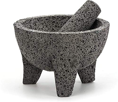 "RSVP International Authentic Mexican Molcajete, 8.5"" x 5"", Natural Volcanic Stone"