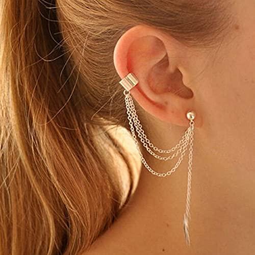 Yheakne Pendientes de cadena con forma de hoja de oro con cadena colgante de hélice de cartílago, pendientes para el día a día, joyas para mujeres y niñas (dorado)