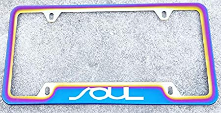 Estodian Blue Burnt Rainbow Chameleon Colorful Mustang Car License Plate Tag Holder Frame for Mustang 304 Stainless Steel 1