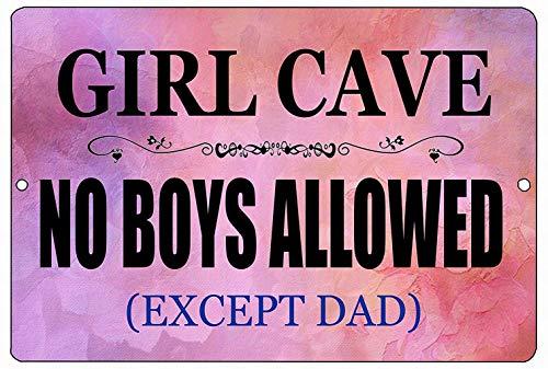 Owesoe Väggdekor plåtskylt 8 x 12 flicka grotta dotter rosa inga pojkar tillåtna sovrum dörr utomhus inomhus anmälningsskylt rum hem dörr dekor