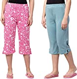 ASK - JS - LCD & CO Women's & Girl's Cotton Printed Capri (Pack of 2) (602-36_Multicolored_36)