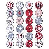Nbrand Adventskalender Zahlen Buttons, 24 DIY Weihnachten Kalender Buttons, Zahlen Anstecker Buttons...