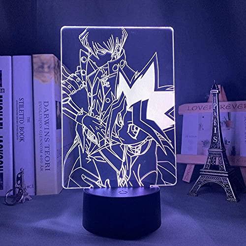 GMYXSW 3D ilusión lámpara LED noche luz anime Yu Gi Oh7 color atmósfera lámpara de mesa dormitorio oficina decoración regalo de cumpleaños para niños