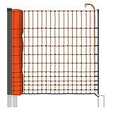 """Malla eléctrica para gallinas """"farmNET"""", rollo de 25m de longitud y 112cm de altura, 9 postes con punta doble y kit de reparación"""