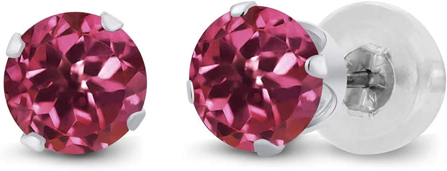 1.00 Ct Round 5mm Pink Tourmaline AA 14K White gold Stud Earrings