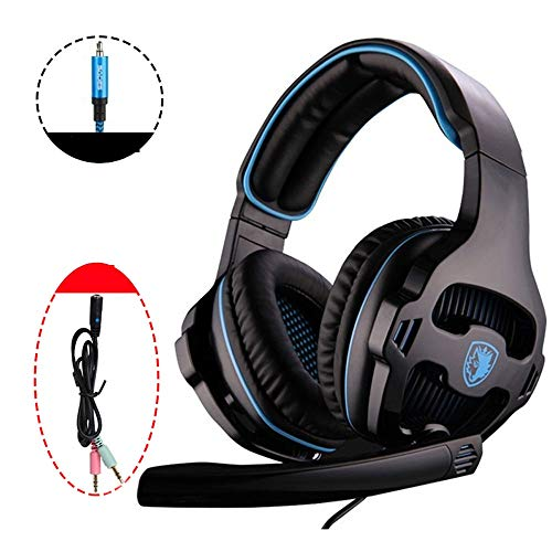 MQQ Stereo Gaming Headset for Xbox One PS4 PC-Controller-Surround-Sound über Ohr-Kopfhörer mit Noise-Cancelling-Licht Gewichtskontrolle for Laptop-Mac-Computer (Color : Schwarz)