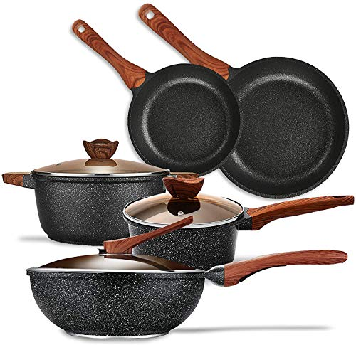KYTD Pans and pots set Nonstick Cookware Set Aluminum Induction Ceramic Cookware Set Dishwasher Safe
