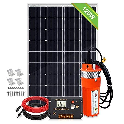 DCHOUSE Kit de bomba de agua , bomba de agua solar de panel solar de 120 W + controlador de carga de pantalla LCD de 20 A + cable de 10 pies