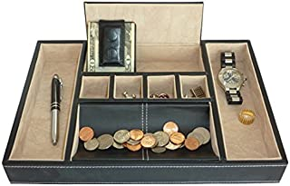 Black Leatherette Valet Tray Desk Dresser Drawer Coin Case Catch-all for Keys, Phone, Jewelry, Watches, and Accessories by TimelyBuys