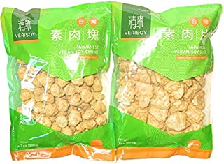 Verisoy Taiwanese Vegan Soy Chunk and Soy Slice Bundle - Textured Vegetable Protein (TVP) Premium Texturized Imitation Pork, 100% Vegan Meat Substitute, No MSG (2 bags total)