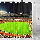 Spain Camp Nou Barcelona Cortina de ducha de viaje baño decoración conjunto con ganchos poliéster 72x72 pulgadas (YL-05273)