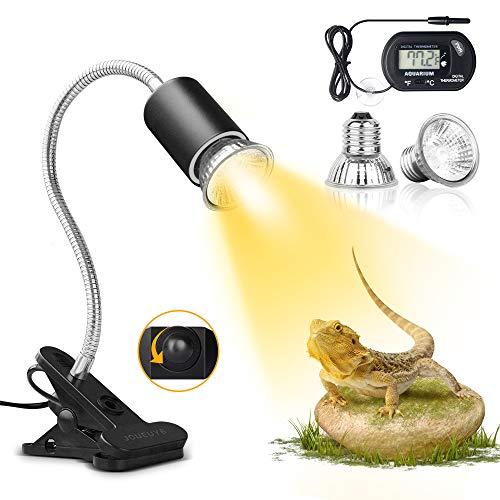 JOUEUYB Reptile Heat Lamp, Turtle Tank Adjustable Aquarium UVA UVB Light with 360°Rotatable Clip for Tortoise Lizard Snake Turtle Reptile Terrarium (2 Heat Lamp Bulbs Include)