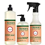 Mrs. Meyer's Clean Day Kitchen Basics Set, Includes: Multi-Surface Cleaner, Hand Soap, Dish Soap, Geranium Scent, 3 Count Pack