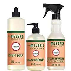 Kitchen Basics set includes our favorite rosy geranium scents and plant-derived cleaning products Dish Soap: cuts through grease while keeping dishes clean and bright Liquid Hand Soap: hard-working, non-drying formula for busy hands Multi purpose Cle...