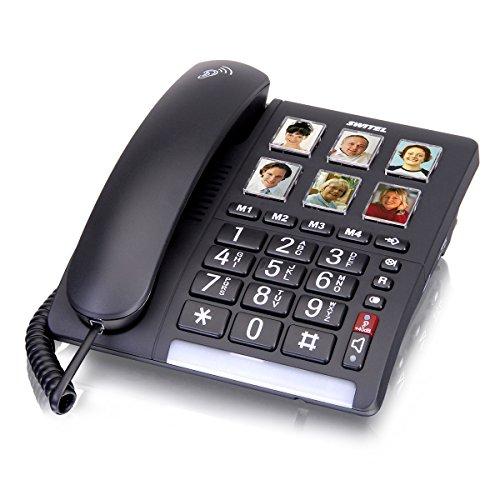 Switel TF540 Großtastentelefon schnurgebunden, sechs programmierbare Fototasten, extra lauter Klingelton, hörgerätekompatibel