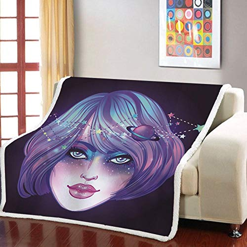 MOUPSDT Impresión 3D Manta de Sherpa Chica de Dibujos Animados Planeta púrpura Reversible para niños niños Adultos Manta sólida de Dibujos Animados de Felpa Impresa para Cama sofá 130x150 cm