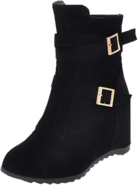 AmoonyFashion Women's Ankle-High Zipper Frosted Kitten-Heels Round-Toe Boots, BUSXT114268