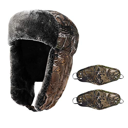 Ushanka Men's Winter Hat with Ear Flaps and Faux Fur Inner - Under Armour Camo Camouflage Russian Trooper Trapper Hat Hunting Skiing Hat for Men Women