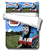 Coo-kid Thomas and his Friends Duvet Cover Sets,3 Pieces Luxury Soft Bedding Set-Cartoon Duvet Cover Comforter Cover with Zipper Closure