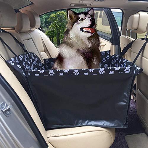 Cubreasiento Perro Patrón de Huella Negra Camas Perros Plastico para Mascotas y Niños con Cinturón de Seguridad para Mascotas y Bolsa de Almacenamiento, Impermeable, Lavable, Antideslizante, Se Adapt