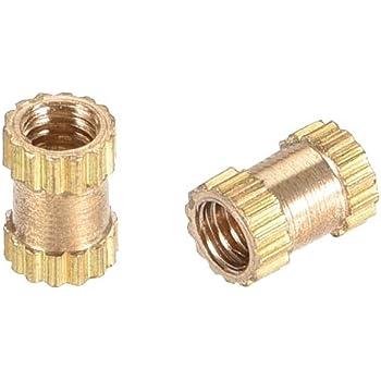 uxcell Knurled Threaded Insert M3 x 8mm L x 5.4mm OD Female Thread Brass Embedment Nuts Pack of 30