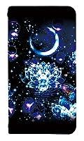 [OPPO Reno3 5G] ベルトなし スマホケース 手帳型 ケース オッポ リノスリー ファイブジー 8261-B. クリスタルロータスと蝶 かわいい 可愛い 人気 柄 ケータイケース ゴシック