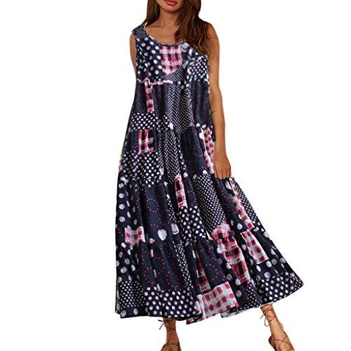 LOPILY Sommerkleid Damen Große Größen Ärmellos Kleid Rundkragen Maxikleid Hippie Druckkleid Freizeit Kleid Hohe Taillen Kleid Retro Kleid für Reise Übergrößen bis 5XL (Marineblau, DE-42/CN-2XL)