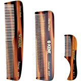 Kent Set Men's Hair Pocket Combs, Tortoise 81T X-Small, FOT All Fine Tooth, R7t Double Toothed Fine and Coarse. Best Hair, Beard and Mustache Grooming Kit for Travel and Home Care, Handmade in England