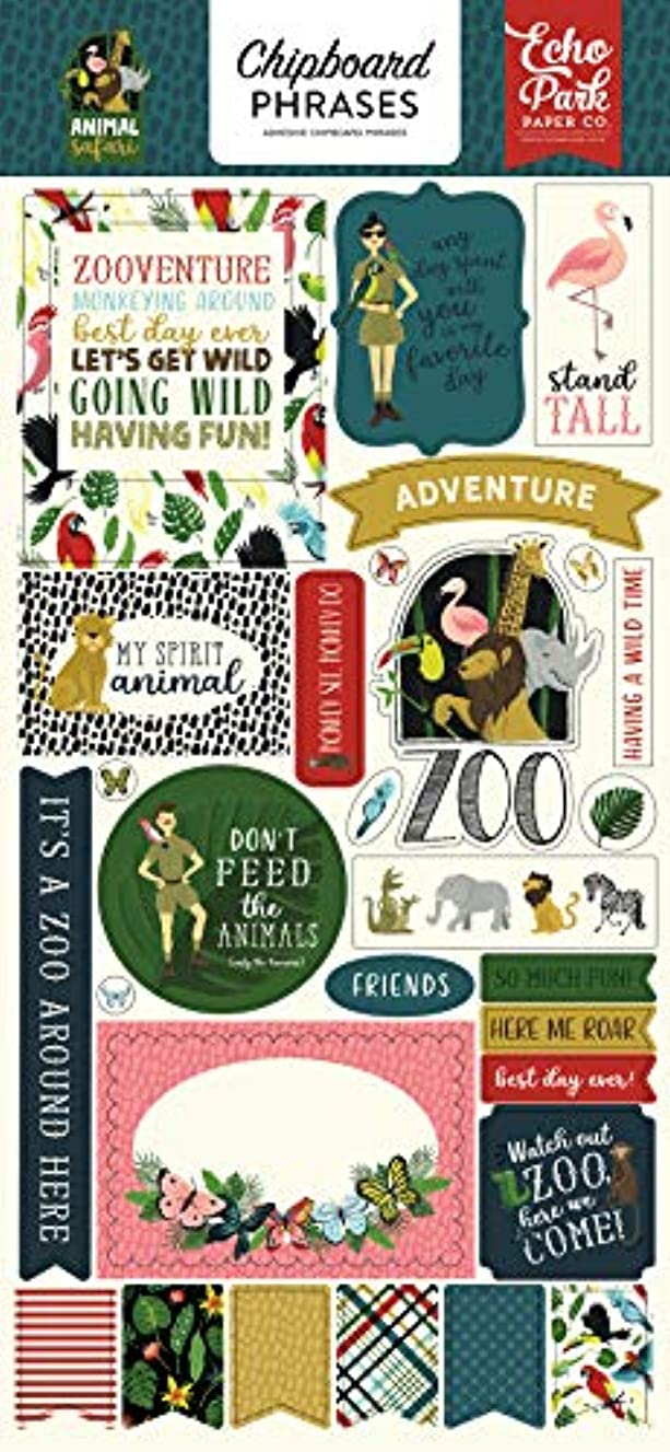 Echo Park Paper Company ZOO167022 Animal Safari 6x13 Phrases chipboard, Green, Navy, Blue, Yellow, red, Pink