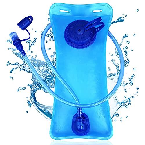 SKL 2 Liter Trinkblase Trinkbeutel Trinksystem Wasserblase PEVA Hydration Bladder Trinksack Wasserzufuhr Blase für den Rucksack wasserdichte Geschmacksneutral mit Schutzkappe Verschlusssystem