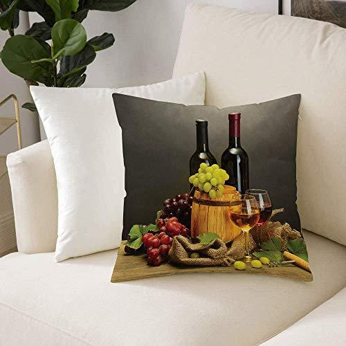 Fundas de Cojines (50 x 50cm) - Cremallera Invisible,Colección de bodegas, barril, botellas y copas de vino y uvas maduras en mesa de, Decorativa, Lavable Funda Almohada para Sala de Estar, Dormitorio