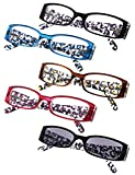 5-Pack Ladies Floral Design Temples Reading Glasses for Women Includes Sunshine Readers