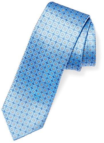 """BUTTONED DOWN Men's Classic Silk 3"""" Necktie, light blue windowpane, Regular"""