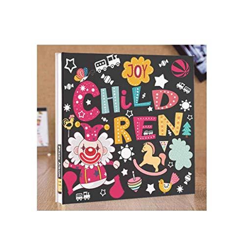 ZTMN fotoalbum, handgemaakt traditioneel fotoalbum voor kinderen, kerstfotoalbum baby memoir youth fashion stijl, zwarte kaart (kleur: zwart)