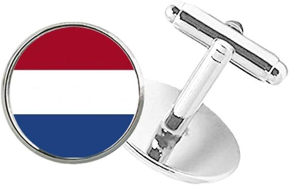 DIYthinker Netherlands National Flag Europe Country Round Button Cuff Clip Stud Cufflinks