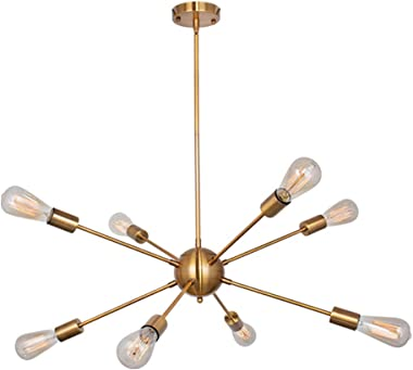 PUMING 8 Lights Gold Sputnik Chandeliers Flush Mount Mid-Century Pendant Lighting Modern Rustic Ceiling Light Fixture for Din