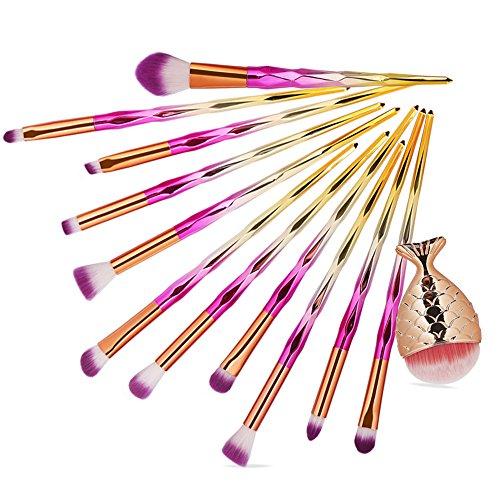 Yesmile Pinceaux De Maquillage 12Pcs Make Up Fondation Sourcils Eyeliner Fard à Joues CosméTiques Correcteur Pinceaux Maquillage Brosses (E,