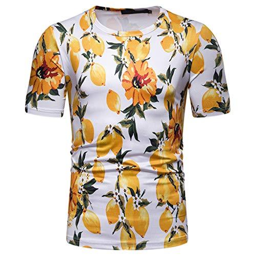 ZZBO Herren T-Shirt 3D Aufdruck Rundhals Tee Hemd mit Kurzen Ärmeln Lässige Tshirt Männer Lässige Oansatz Kurzarm Oberteile Hemden Tops mit Obst Blume Feder Druck Stylisch Hemd M-XXL(Grün,Gelb,Pink)