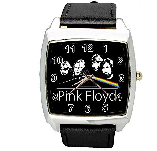 Reloj cuadrado de cuarzo negro con correa de piel auténtica para los