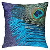 Yaateeh Purple Blue Teal Peacock Throw Pillow Covers Decorative 18x18 Inch Pillowcase Square Cushion Cases for Home Sofa Bedroom Livingroom