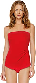 Diamond in The Rough Red Bandeau Sarong One Piece Swimsuit Size 10