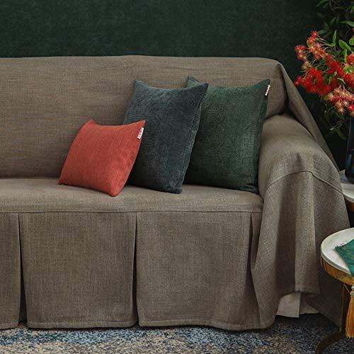 JBNJV Funda Suave para sofá, Fundas universales para sofá con 3 Cojines, Funda Premium para Perros con Volantes, Protector para Muebles de Sala de Estar, Gris 180x200 cm (70,9x78,7 Pulgadas)