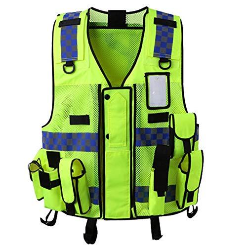 Guolipin Reflektierender Mantel Verkehrssicherheitsweste reflektierende Weste atmungsaktiv fluoreszierend grün reflektierende Kleidung Outdoor-Sportarten Reiten Multifunktionstasche Herren Warnweste