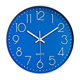 Taodyans Moderno Orologio da Parete Silenzioso Orologio da Cucina Quarzo da 30 cm (Blu)