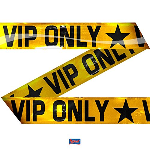 Folat- Barrier Tape VIP-15 m Long Decorazioni per Festa, Colore Oro/Nero, Taglia Unica, 22559