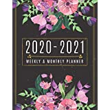 2020-2021 Weekly and Monthly Planner: Beautiful Floral 2 Year Planner - July 2020 to June 2021