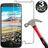 [3 Pack]MOTO Z Droid/Moto Z Screen Protector Tempered Glass,[9H Hardness][Ultra Clear][Anti Scratch][Bubble Free]Coolpow Tempered Glass Screen Protector Film for Motorola Moto Z Droid/Moto Z