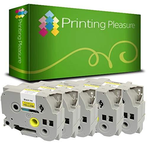 Printing Pleasure 5 x TZe-FX651 TZ-FX651 Nero su Giallo Nastro flessibile compatibile per BrotherP-Touch Stampanti per etichette | 24mm x 8m | laminato